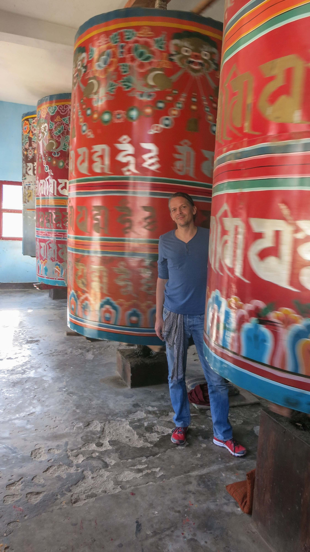 Turning the prayer wheel