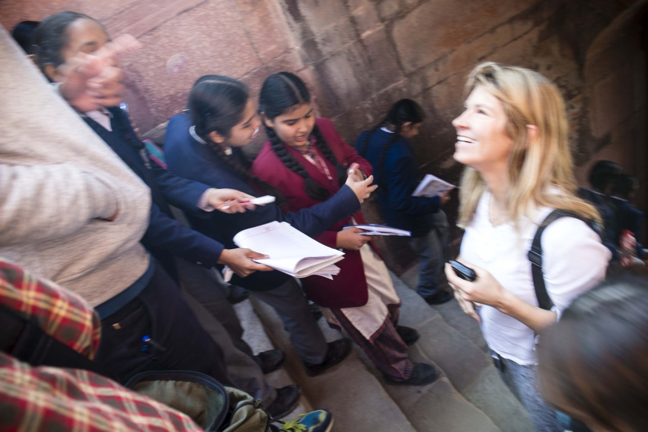Famous star? No! Blond girl in India!