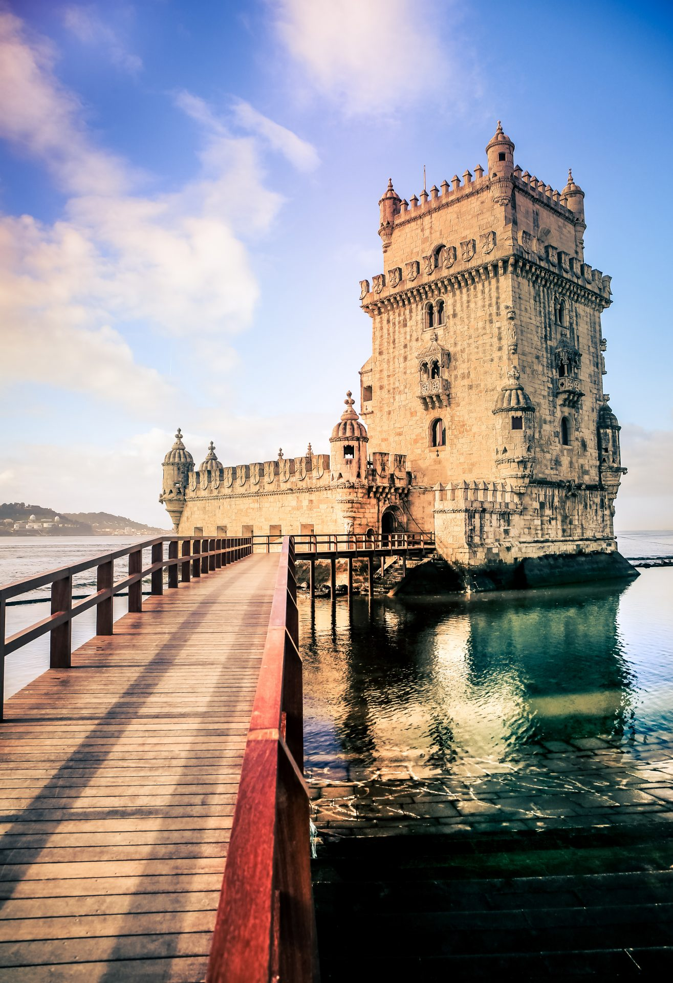 Belem Tower with bridge right before sunset